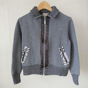 Burberry Zip Up Sweatshirt Collar Grey Size Medium